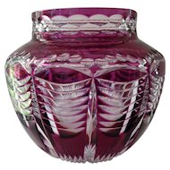 Val St Lambert Amethyst Cut to Clear Glass Vase
