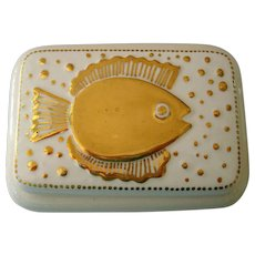 Waylande Gregory Signed Ceramic Box w/ Gold Fish Motif
