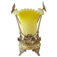 Diamond Quilted MOP Vase in Silverplate Stand