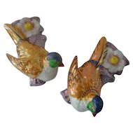 A Pair of Vintage Lusterware Bird Wall Pockets