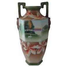 Nippon Vase w/ Maple Leaf Motif