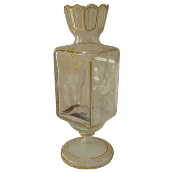 Hand Painted 19th Century Crystal Vase