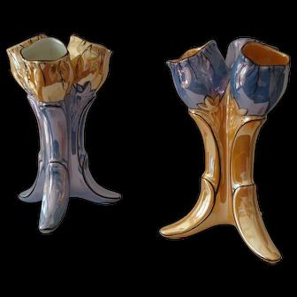 Pair of Lusterware Tulip Vases