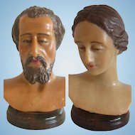 French Wax buste doll heads off 1920's (Joseph and Mother Mary probably)