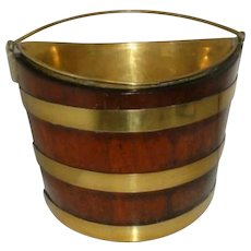 Georgian Irish or English Peat Bucket Late 18th/early 19th Century Copper Brass Mahogany