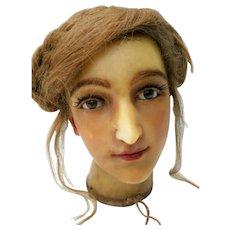 French Buste Lady Wax Doll Head 19th Century