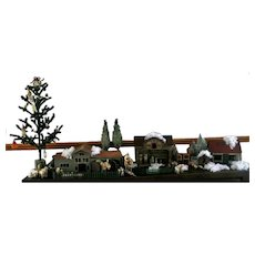 Amazing Antique Christmas Set Sheeps Deer Chickens Dollhouses Lenci Doll Santa Christmas Tree