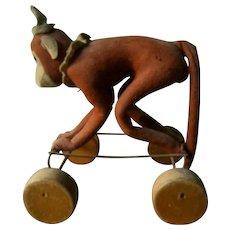 Antique Steiff Monkey On Wheels Exremely Rare 1920