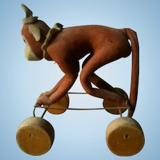 Antique Steiff Monkey On Wheels Exremely Rare 1920