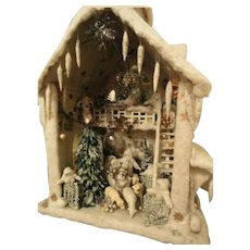 Big German Antique Cotton Wool House Christmas