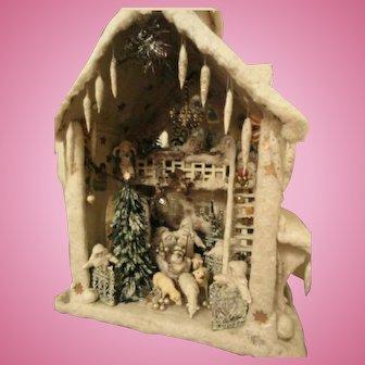 Big German Antique Cotton Wool House Christmas