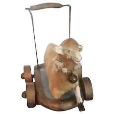 Antique Laying Sheep German On Trolley