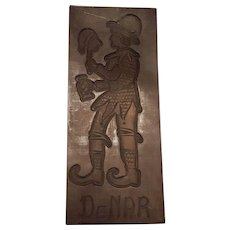 Vintage Handcarved Wooden Speculaasplank/Cookiemold With A Jester