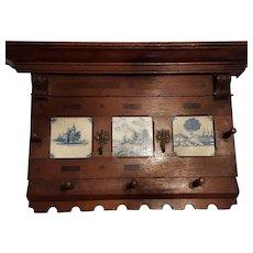 Vintage Wooden Coat Rack With Delft Blue Tiles