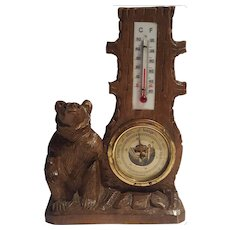 Antique Black Forest Barometer and Thermometer