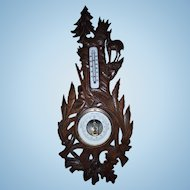 Antique Hand Carved Oak Wood Black Forest Barometer and Thermometer - Hunting Barometer, Weather Station