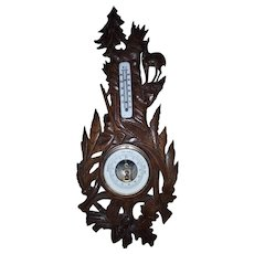Antique Hand Carved Oak Wood Black Forest Barometer and Thermometer - Hunting Barometer, Weather Station