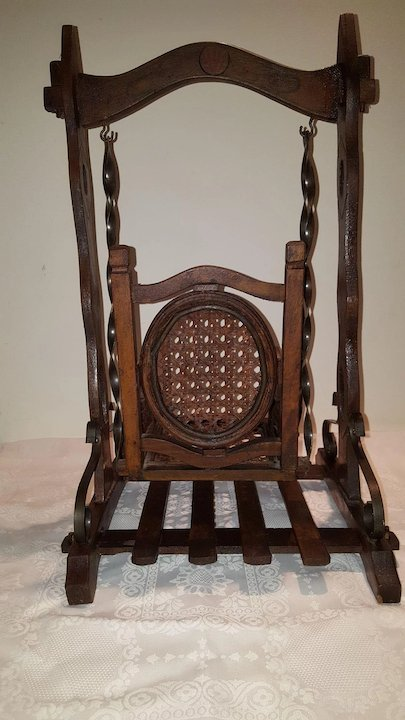 Unique Doll Rocking Chair/Swing With Caned Seating
