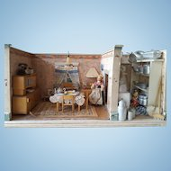 Antique Dollhouse - Diningroom and Kitchen