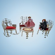 French Iron Dollhouse Dinningset - with Rocking Chair and Dolls