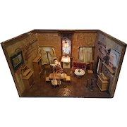 19th Century German Living Room Themed Dollhouse Germany