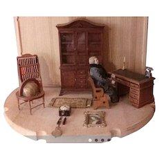 Dollhouse Furniture Cabinet Desk Doll Globe Clock