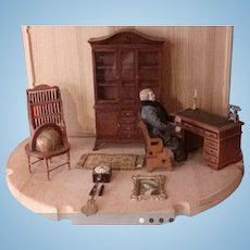 Dollhouse Furniture Cabinet Desk Doll Globe Clock
