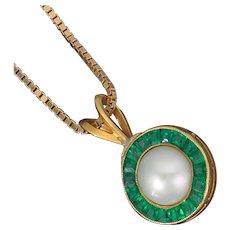 You'll absolutely flip. Twice. Reversible 14k/Emerald, Diamond, Pearl Pendant