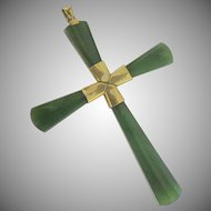 14k Nephrite Jade Cross