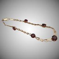 Five-Garnet 14k Gold Bracelet