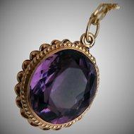 Oval Amethyst 14k pendant