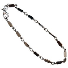 Italian Flat-bar 14k White Gold Link Bracelet