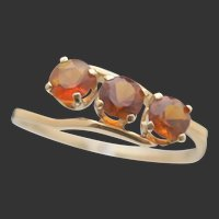 18k Three-Citrine Ring