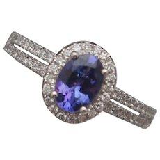 Tanzanite and Diamond 14k Gold Ring