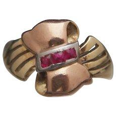 14k Tricolor Ruby Ribbon Ring