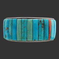 Native American Sterling Turquoise Cornrow Cuff