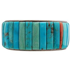 Native American Sterling Turquoise Cornrow Cuff
