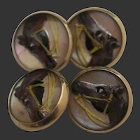 14k Essex Reverse Crystal Painted Horse Cuff Links