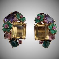 14k Tutti Frutti Clip Earrings