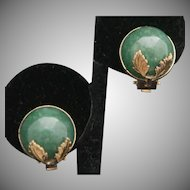 14k Jadeite Clip Earrings