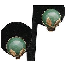 14k Jadeite Clip Earrings