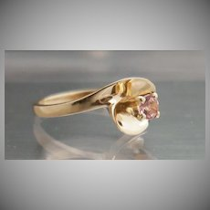14k Yellow Gold Pink Topaz Ring