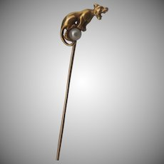 14k Deco Panther Stickpin