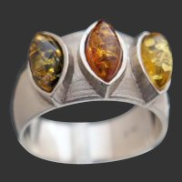 14k White Gold 3-color Amber Ring