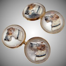 Run with the big dogs, charm the cats. 14k Crystal Terrier Cufflinks