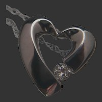 14k White Gold Open Heart Diamond Pendant with Chain