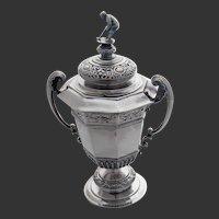 Edwardian Sterling Silver Golf Trophy & Cover
