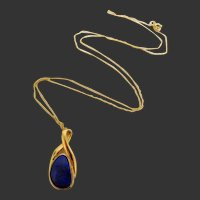 Exceptional Vivid Deep Blue Boulder Opal 14k Pendant and Chain