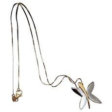 14k Two-tone Stylized Butterfly Necklace