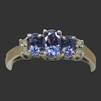 14k 3-stone Tanzanite Ring